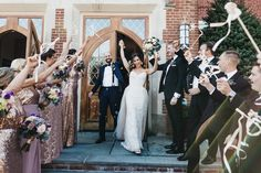 bride and groom celebrating exiting the church while bridal party waves streamers Wedding Send Off, Wedding Exits, Wedding Photos, Dream Wedding, Purple Color Palettes, Purple Palette, Bridesmaids And Groomsmen, Wedding Bridesmaid Dresses, Dusty Purple