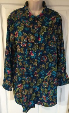 Roamans Plus Size 1X Shirt/Jacket Oversized Floral Teal Blue Tunic Moleskin EUC  | eBay