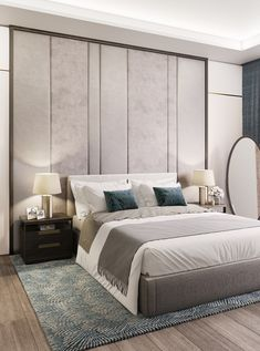 Uber-luxurious feel with the upholstered wall-panel creating a further sumptuous headboard effect. Penthouse bedroom by 1508 London. Find this designer on The Interior Design Showcase.