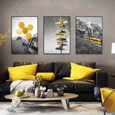 Black and White Landscape Posters and Print Nordic Canvas Painting Home Decor Wall Art Yellow Style Picture Modern Living Room - 40x60cm no frame / 3Pcs