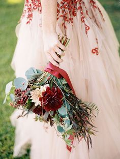 Burgundy and Ivory Dahlia Bouquet | Jeff Brummett Visuals | Bold Fall Colors and a Floral Wedding Dress
