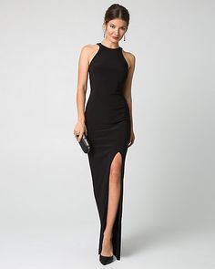 Knit Halter Gown Knit Halter Gown - The chic combination of a halter neck and fitted silhouette makes this gown a bold choice for your evening out. Silk Bridesmaid Dresses, Prom Dresses, Couture Mode, Couture Fashion, Corsage, Hairstyles For Gowns, Halter Gown, Halter Neck, Black Silk Dress