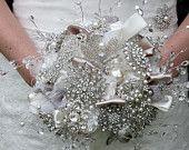Large Teardrop Diamante and Pearl Bridal Brooch Bouquet. £300.00, via Etsy.