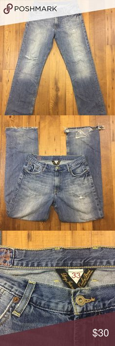 "Lucky Brand Mens Jeans Size 33 Blue Distressed Long Inseam Length~ 45"" Waist~ 34""-36"" Inseam~ 33"" Rise~ 10.5"" Condition: excellent. Distressed at right knee, 2 back pockets, and both leg cuffs Questions are welcome! Fast Shipping from a smoke-free pet free home. Lucky Brand Jeans"