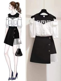 Women Summer Strapless O-neck Letter Print Short Sleeve Blouse + Tunic High Waist Wrap Skirt Two Piece Dress Set Fashion Drawing Dresses, Fashion Illustration Dresses, Fashion Dresses, Kpop Fashion Outfits, Girl Fashion, Pretty Outfits, Stylish Outfits, Mode Kpop, Dress Sketches
