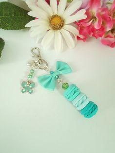 Bijou de sac trio de macarons vert émeraude et vert menthe : Autres bijoux par lili-gourmandise