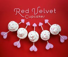 red velvet cupcakes w/ cupids arrows