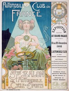 Poster design for the 'Automobile Club de France' advertising the 5th exhibition for cars, bicycles and sports by Henri Privat-Livemont, ca. 1902