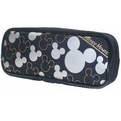 Disney Mickey Mouse Silver Black Pencil Case