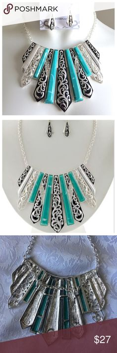 """New - Antique Silver Turquoise Necklace Set Antique Silver Tone / Green Acrylic / Lead Compliant / Metal / Fish Hook (earrings) / Filigree / Necklace & Earring Set •   LENGTH : 18"""" + EXT •   DROP : 3"""" L •   CHARM : 1/2"""" X 1 1/4"""" Jewelry Necklaces"""