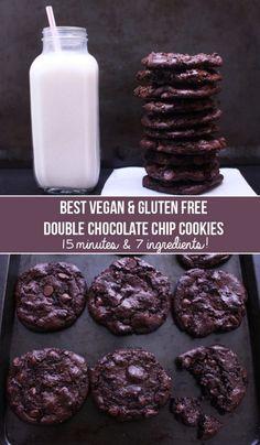 Best Gluten Free Vegan Double Chocolate Chip Cookies (Oil Free, GF)