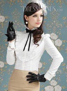 US$22.99 Best Falbala Long Sleeves Lace Blouse. #Blouses #Long #Falbala #Sleeves