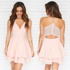 Spaghetti Straps V Neck Short Prom Dress Homecoming Dress-Pgmdress