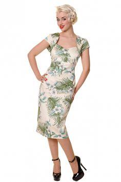 Collectif Clothing - 50s Regina Hibiscus White pencil dress