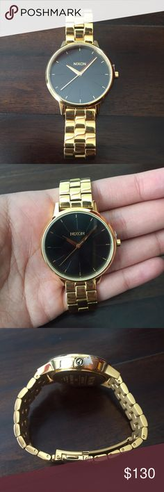 Nixon gold Kensington watch BRAND NEW without box Nixon Kensington watch A099-2042 - gold with black sunray face - 37mm face - Japanese 3 quartz analog - stainless steel snap fit Never worn! Still has plastic protector on face! Nixon Accessories Watches