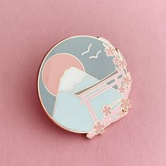 Pastel Japan Mount Fuji Cherry Blossom Enamel Pin