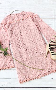 Adorable pink fashion-Pink crochet pom-pom trim dress outfit.