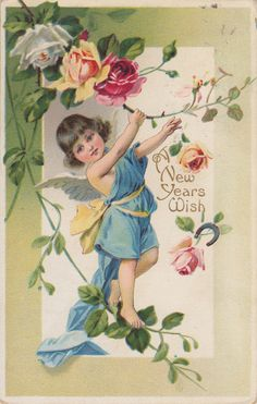 WIngs of Whimsy: New year's Floral Cherub & Roses