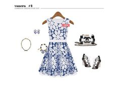 M6118 openwork embroidery dress-blue