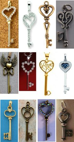 heart-shaped key collage