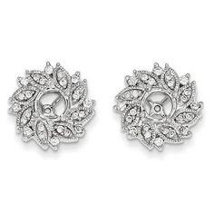 White Gold Diamond Flower Earring Jacket