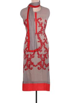 Grey Unstitched Suit Adorn In Resham Embroidery Only On Kalki