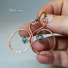 Copper hoop earrings minimalist jewelry wire wrapped