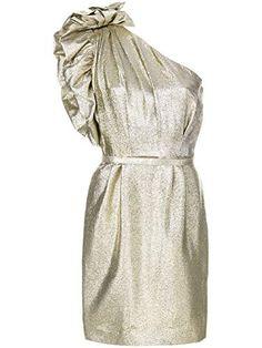 Stella McCartney one-shoulder Lurex Dress One Shoulder Cocktail Dress, Short Cocktail Dress, Short Mini Dress, Short Dresses, Cocktail Dresses, Shoulder Dress, Metallic Gold Dress, Metallic Mini Dresses, White Ruffle Dress