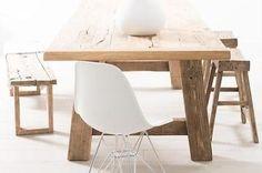Oud houten eettafel - rustieke tafel