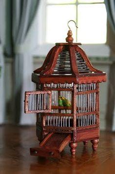 dollhouse miniature bird cage