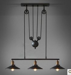 Loft can lift pulley mahjong lamp retractable iron pendant light vintage bar counter lamp-inPendant Lights from Lights & Lighting on Aliexpr...