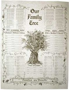 Free Printable Family Charts ~  Our Family Tree - Families are Forever