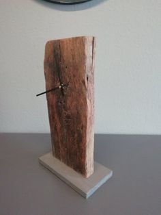 Table watch old wood with concrete base, handmade Table Watch, Wooden Watch, Wood Table, Incense, Clock, Vase, Vintage, Hot, Home Decor