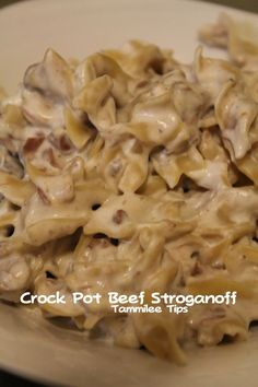 Crock Pot Beef Stroganoff! Perfect Fall recipe! The crock pot does all the work and you get an amazing dinner!