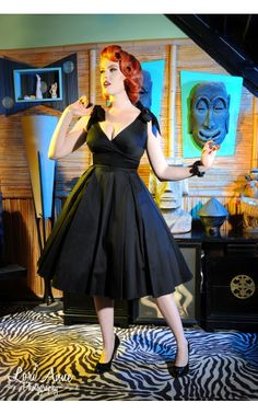 Deadly Dames- Tie Me Up Dress in Black Sateen | Pinup Girl Clothing $120