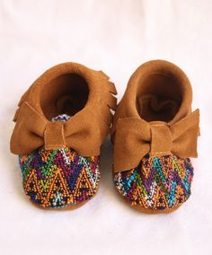 Bow Suede and Huipel Baby Moccasins from Humble Hilo