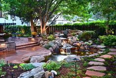 backyard and front yard landscaping with natural waterfall   Love this shape and setup