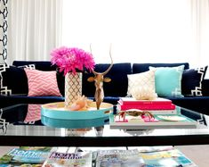 Adore Home magazine - dark couch + pink & turquoise accents