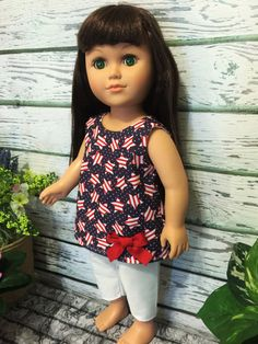 18 Doll Clothes Stars Pant Set Red White by sassydollcreations