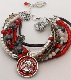 Hippie Style, Hippie Boho, Football Bracelet, Buckeyes, Ohio, Glass Beads, Beading, Bracelets, Crafts