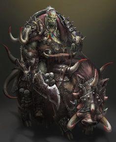 Orc wild boar Rider by Kim Ha yeong Fantasy Races, Fantasy Warrior, Fantasy Rpg, Fantasy Artwork, Fantasy World, Dark Fantasy, Fantasy Portraits, Fantasy Comics, Warcraft Art