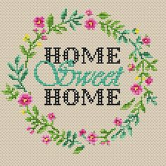 Home Sweet Home cross stitch pattern PDF/ Round border flower needlepoint counted chart/ circle wreath xstitch/ modern cross stitch pattern Home Sweet Home Kreuzstichmuster PDF / Round border flower Celtic Cross Stitch, Small Cross Stitch, Cross Stitch Letters, Cross Stitch Borders, Modern Cross Stitch Patterns, Cross Stitch Flowers, Cross Stitch Charts, Cross Stitch Designs, Cross Stitching