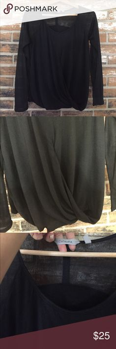 Athleta Cross front top In Excellent condition! Gauzy material with a double lining on the front and back and a single at the shoulders and arms. So chic and so perfect for dressing up in or going adventuring Athleta Tops
