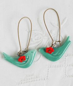 Blue BIRD Red Flower Earrings - The little red flowers are a great finishing touch!