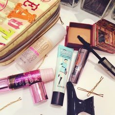 A peek into our morning beauty regime! Does anyone else make a complete mess while getting ready? #fotd #benefitbeauty