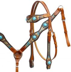 Showman Textured Overlay With Turquoise Stones Headstall, Breast Collar, Reins Set