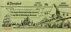 Vintage ticket for Disneyland attractions featuring the Matterhorn and Monorail.