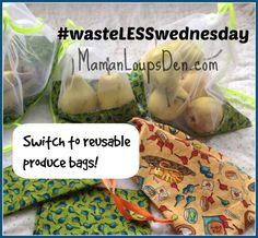 Switch to reusable produce bags #wasteLESSwednesday