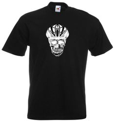 Cycling T shirt Skull with helmet by CycloDesignShirt on Etsy
