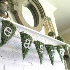 Make your own DIY moss banner by Chic California to put some sparkle in your Easter decor. Use glittering letters to dress your banner in holiday messages or sweet spring wishes.